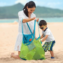 Discount sand tote - Storage Bag Folding Children Beach Toys Finishing Bag Baby Seaside Travel Network Bags Mesh Pouch Tote Shell Sand Organi