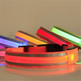 dog reflective light 2019 - LED Collar Pet Dog Plain Safe Night Reflective LED Flashing Adjustable Light Dog Collar pet collar discount dog reflecti