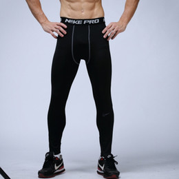 Discount pants Free Shipping mens compression pants sports running tights basketball gym pants bodybuilding joggers jogging skinny leggings trousers