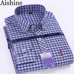 herrenhemden großhandel-Großhandels New Men s Dress Shirt Herbst Winter Mens Langarm Plaid Hemd männliche Qualitäts Baumwolle beiläufige Hemden Hommes Camisa AZ100