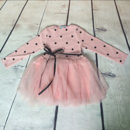 Wholesale Spring Western Girls Outfit Long Sleeve Black Dots Baby Girls Dress Soft Tulle Baby Girls Tutu Dress Ribbon Baby Clothing
