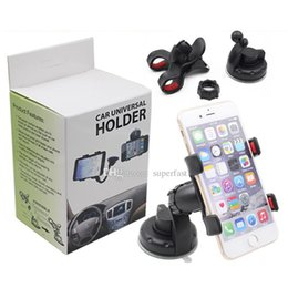 Car Universal Gps Box Canada - For Iphone 6 Universal Car Holder 360 degree rotation car Holder Cupule Black For Smart Phone PDS GPS PSP Camera Recoder With Retail Box