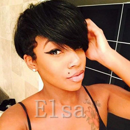 hair hairstyle Canada - Rihanna Chic Pixie Cut Short human hair Wigs Hairstyle Cheap Full Lace Brazilian Virgin Remy cut Hair Wigs for Black Women
