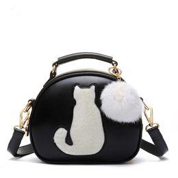 Nuevas mujeres Bolsas de maquillaje Crossbody para mujeres Bolsas de cosméticos de cuero de la PU Full Moon Candy Color Cute Cat With Fur Ball