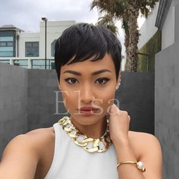 short hairstyle for straight hair NZ - Machine Made Non Lace Short Black Wig Hairstyles Brazilian Hair Wigs Short Straight Wig for Black Women