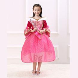 $enCountryForm.capitalKeyWord Australia - New Cartoon Girls TUTU Dress Pink Princess Dress Girl Aurora Flare Sleeve Dress for Party Birthday in stock