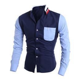 decorative sleeves 2019 - Wholesale- Camisas Hombre Vestir Dress Shirts Mens Shirt Slim Fit Chemise Homme Men Shirt Decorative Pocket Heren Hemden