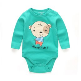 Barato Bebê Barato Roupas Manga Longa-5 Cor baby rompers High Quality Stripe Round Collar Long Sleeves Body suit Baby Cheap Unisex Newborn Clothes 12-24 meses