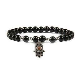 China Free Shipping New Religious Jewelry Micro Pave Black Cz Fatima Hand Hamsa With 6mm Natural Black Onyx Stone Beads Pendant Bracelets cheap jewelry bracelet black onyx suppliers