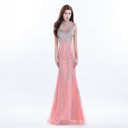 Discount sparkle model - Sparkle High Neck Floor Length Lace Prom Dresses Long Beading Sequins Evening Gowns Sexy Back With Sheer Tulle Chic Part