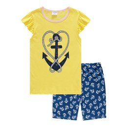 Barato Roupas Novas Mais Baratas-New Arrival Girl's Pajamas de verão Children Clothes Sets Colorful Baby Girl Vestuário Outfits T-Shirts Shorts O mais barato PS120