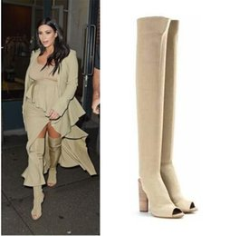 $enCountryForm.capitalKeyWord Canada - kim Kardashion Fashion Overknee High boots Stretchy Fabric Block High Heels Knitting Socks Thigh High Booties Army Green Black Nude Heels