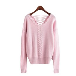 Pull À Tricoter Sans Dossier Pas Cher-2017 Backless Sexy Femmes Chandails et Pullovers V Cou Twist Lace Up Tricoté Rose Pull Casual Jumper