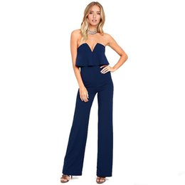 ruffle jumpsuit women UK - 2017 Ladies Party Jumpsuit Strapless Ruffles Long Wide Leg Jumpsuits Women Sexy Evening Dress Rompers OL Office Outfit S-2XL