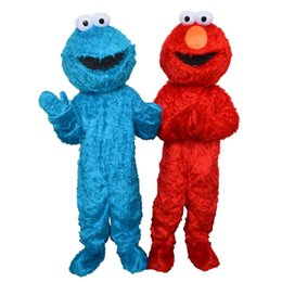 Barato Trajes De Fantasia Elmo-Sesame Street Red Elmo Mascot Costume Party Costumes Chirstmas Fancy Dress COOKIE MONSTERcostume mascote Tamanho Adulto