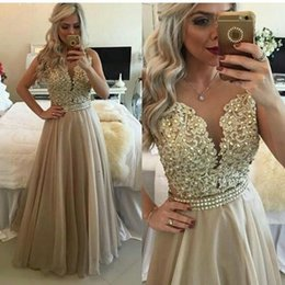 $enCountryForm.capitalKeyWord NZ - 2018 Champagne Arabic Prom Dresses Sheer Neck Appliques Beads Crystal A Line Long Cheap Formal Evening Party Special Occasion Gowns