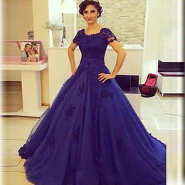 Barato Luva Do Tampão Do Azul Marinho Formal-Graceful Ball Gown Azul marinho Vestidos de noite Cap Sleeve Tulle Applique Beading Sweep Train Formal Prom Gowns