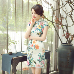 $enCountryForm.capitalKeyWord Canada - 2019 New summer elegant high quality plus size short sleeve real silk cool printed flowers short cheongsam daily Chinese dress qipao