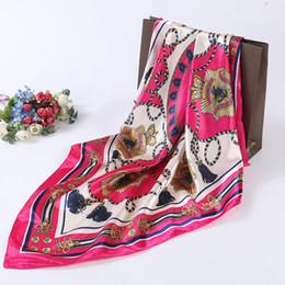 Silk Polyester Canada - New Fashion Tassel Belt Print Satin 90cm Square Scarf Women Good Quality Large Size Imitated Silk Scarves Polyester Shawl Hijab A90SDFJ004