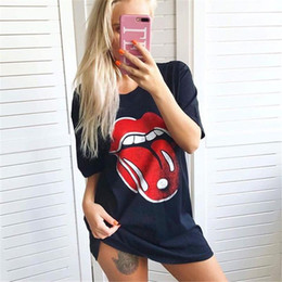 Lips Blouse Black Canada - 2017 new Womens Summer Casual Red Lips Print Black Loose Short Sleeved T-Shirt Jumper Tops Blouse Tee