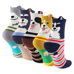 Sock Packs Australia - 5-pack Womens Dog Cotton Socks Crew Novelty Liner Socks
