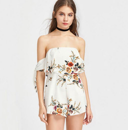 Barato Blusa Branca De Senhoras Sexy-White Floral Romper Para Mulheres Sexy Ladies Strapless Partido Jumpsuits Slim Wide Leg Hot Shorts Casual Beach Outfit