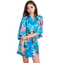 Barato Sexy Chinese Mini-Atacado- Lake blue China Women Silk Rayon Mini Robe Sexy Kimono Bath Gown Intimate Lingerie Pajama Plus Size S M L XL XXL XXXL ZS020