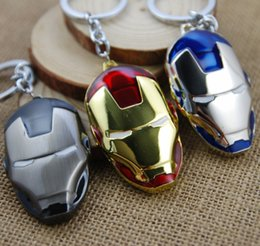 keychain packaging Canada - 2015 Hot The Avengers Iron Man Keychain Metal Alloy Mask Key Ring For Keys Accessory Wholesale 10pcs lot Blister Package