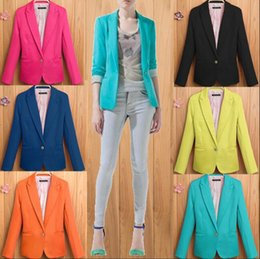 35d38b9fa83 7 colors plus size candy color one button blazer suit jacket autumn jackets  coats suits women blazers