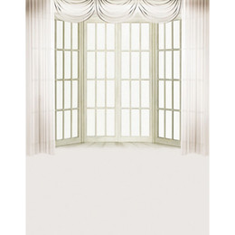 Photography Curtains UK - 5x7ft Vinyl Digital Indoor White Curtain Wood Door Window Photography Studio Backdrop Background