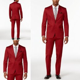 Barato Smoking Vermelho Do Smoking Dos Homens-Africano Custom Made Groom Tuxedos Red Groomsmen Wear Side Vent Melhor homem Suit Wedding / Men Tuits Bridegroom Two Pieces
