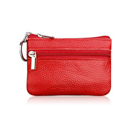 genuine leather key case holder UK - Wholesale- Genuine Leather Coin Purses Men Women's Cute Small Change Money Bags Children's Pocket Wallets Key Holder Case Mini Zipper Pou