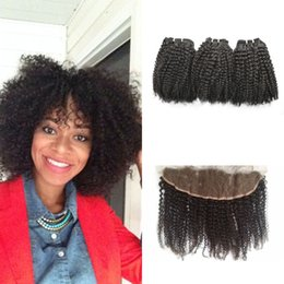 kinky curly human hair 2019 - Brazilian Human Hair Bundles With Lace Frontal 13*4inch Virgin 100 Unprocessed Kinky Curly Hair Extensions Frontal Closu