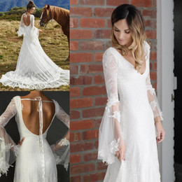 Modern Gothic Wedding Dresses Canada - New White 2017 Bohemian Tulle Lace Wedding Dresses Long Sleeve V Neck Sweep Train Backless Gothic Bridal Gown