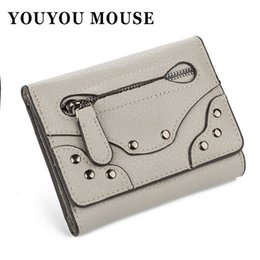 Wholesale YOUYOU MOUSE Vintage Rivets Pattern Portefeuilles Fold Solid Color Coin Purse Portefeuille en cuir PU de haute qualité Hasp Women s Wallet