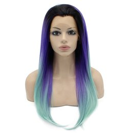 "$enCountryForm.capitalKeyWord Canada - 24"" Long Ombre Violet Purple Blue Two Tone Silky Straight Half Hand Tied Heat Resistant Synthetic Fiber Lace Front Fashion Wig S02"