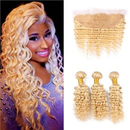 China Top Sale 9A #613 Blonde Russian Deep Wave Virgin Human Hair 3 Bundles With Free Middle 3 Part 13x4'' Lace Frontal Closure Piece suppliers