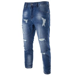 0626a935840f 2017 Brand Slim Hole Scratched Designed Beg Men s Denim Pants Street Jeans  for Men Casual Blue Hip Hop Jeans Big Size