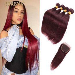 34 inch red hair extensions online 34 inch red hair extensions burgundy wine red 99j brazilian virgin hair weave bundles with closure 44 peruvian malaysian silky straight baby remy human hair extension pmusecretfo Choice Image