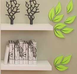 Discount wood day beds 3D Creative leaves wall sticker for child room  living room  bed room decoration 6pcs factory wholsales price free shipp