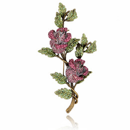 Vintage Rose Pin UK - Wholesale- Crystal Rhinestone Rose Flower Brooch Pin Metal Tree Branch Leaves Vintage Fashion Jewelry Women Garment Accessory