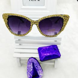 8c12fa509ec Wholesale-2016 New Brand Crystal Diamond Cat Eye Sunglasses Women Luxury  Famous Designer Vintage Mirror Sun Glasses For Ladies