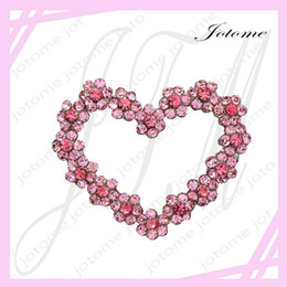 Designer Flower Brooch Canada - 100PCS Lot Valentine's Day Rhinestone Heart and Flower Pin Brooch Designer Fashion Jewelry Charm For Lover