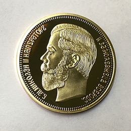 Russia Coin Australia - 10 Pcs The Brand new 1901 Nicholas II of Russia coins commemorative 24K real gold plated 40 mm souvenir coin