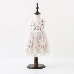 Organic Style Flowers UK - 2017 New Summer Flower Girls Dresses Baby Kids Suspender Floral Cotton Lace Princess Dresses Children Clothing