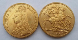 pound coins UK - 1887 Queen Victoria Gold Double Sovereign Two Pounds Promotion Cheap Factory Price nice home Accessories Silver Coins