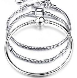 $enCountryForm.capitalKeyWord Australia - New Hot Sells 8 Style 925 Silver LOVE Snake Chain Bracelet & Bangle 17CM-23CM Pulseras Lobster for Beads MOQ 100 pcs