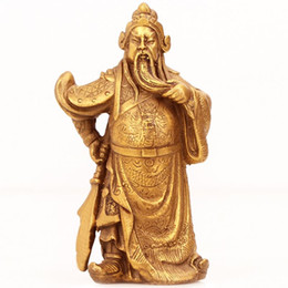 Carved Figures Canada - He was lucky to open public decoration brass figure bronze statue of the God of wealth wealth Wu car decoration home