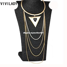 $enCountryForm.capitalKeyWord Canada - VIVILADY Vintage Resin Stone Alloy Triangle Chokers Bib Maxi Necklaces Layers Metal Chain Body African Jewelry Women Accessories
