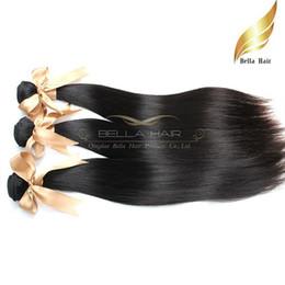 12 Inch Straight Human Hair Canada - Brazilian Hair Bundles Silky Straight Weaves Remy Human Hair 3pcs lot Natural Color Grade 8A 10-30 Inch Hair Weft Bellahair